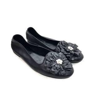 Brighton Black Leather Carly Flower Flats